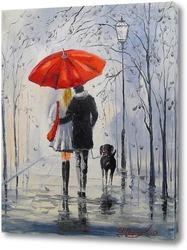 Постер Прогулка под дождем