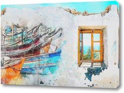 Постер Причал с лодками