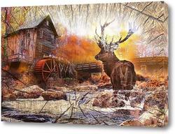 Постер Хижина и олень
