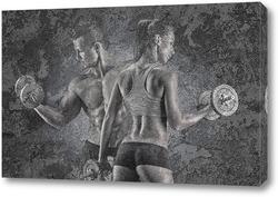 Постер Девушка и парень, спорт