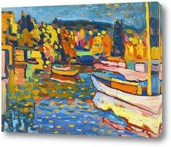 Картина Осенний пейзаж с лодками