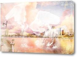 Постер Белоснежные лошади