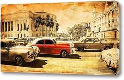 Постер Красная ретро машина
