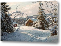 Картина Солнечный зимний пейзаж