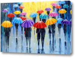 Картина Дождь в разноцветных зонтах