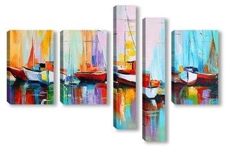 Модульная картина Лодки у пристани