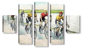 Модульная картина Велосипедисты, финиш