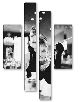 Модульная картина Одри Хепбёрн в<Завтрак у Тиффани>.