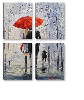 Модульная картина Прогулка под дождем