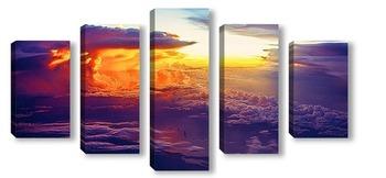 Модульная картина шикарный закат над Кубой