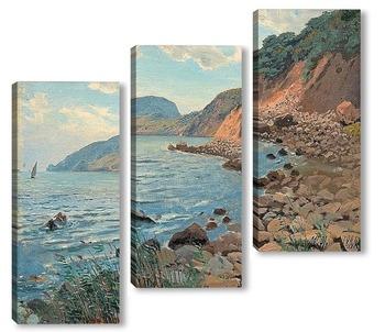 Модульная картина Летний пейзаж на берегу.
