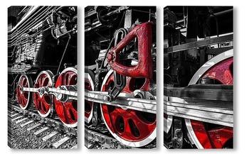 Модульная картина Спящие красные колёса