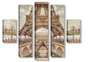 Модульная картина Ретро Париж