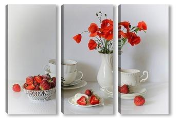 Модульная картина Завтрак с клубникой и маками