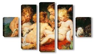 Модульная картина Маленькие Иисус с Иоанном с двумя ангелами