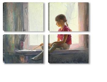 Модульная картина Юная художница