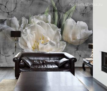 Фотообои Белые тюльпаны