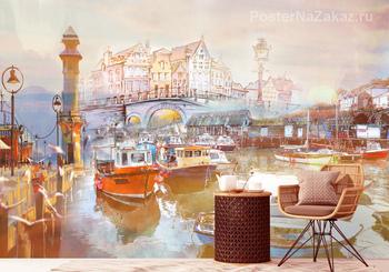 Фотообои Закат в Амстердаме